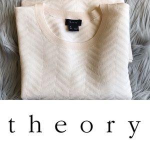 Theory Chevron Ivory Wool LS Sweater